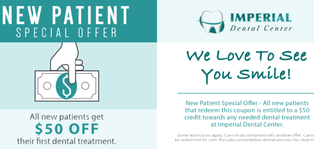 Imeprial Dental Center sugarLand Texas Patient Special Offer 630x300 1